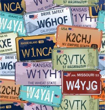 Seamless Background - Retro Auto License Plates