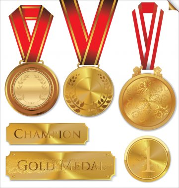 Vector illustration of gold medal set
