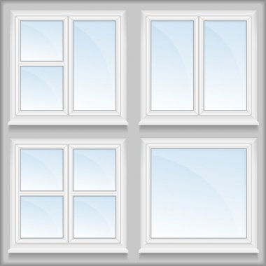Windows with sills, vector eps10 illustration stock vector