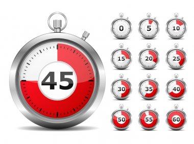 Set of red timers, vector eps10 illustration clip art vector