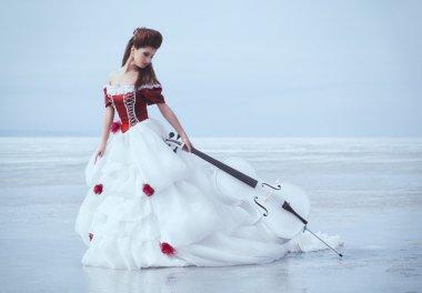 Beautiful brunette in a dress