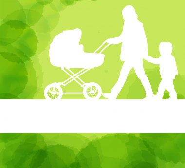 Mother with baby carriage and kid background