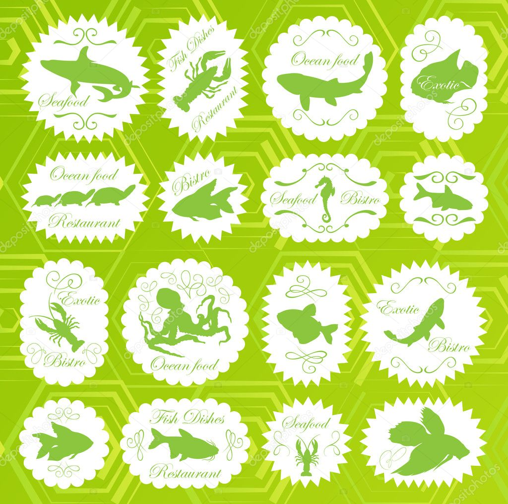 Sea food vector labels