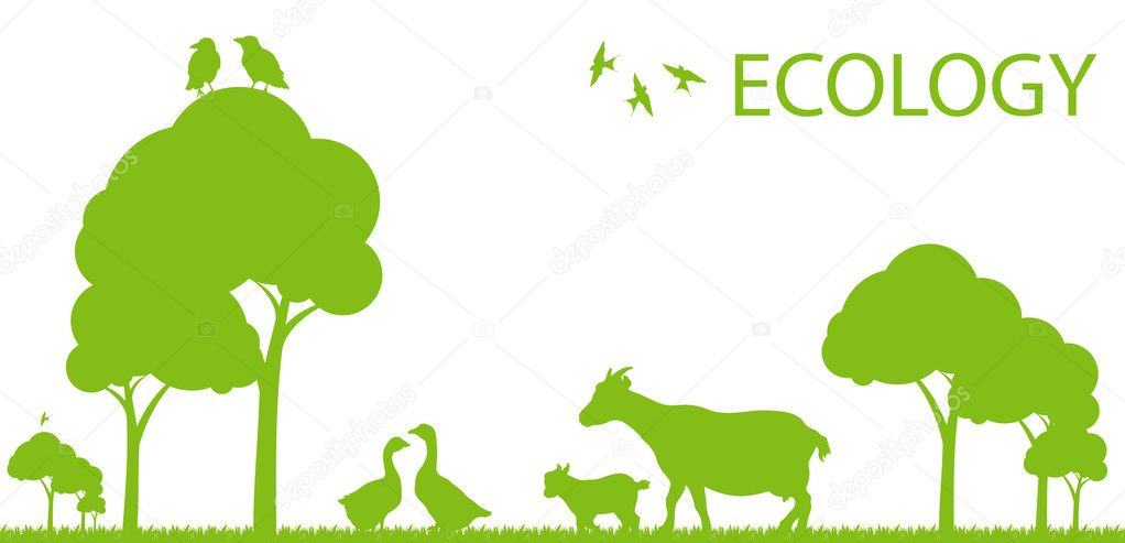 Goose and goat ecology background vector concept landscape