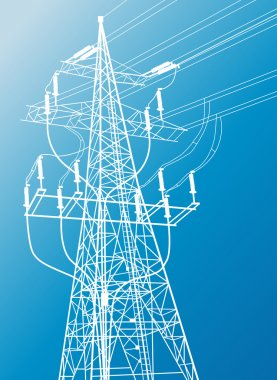 High voltage power lines and pylon vector background