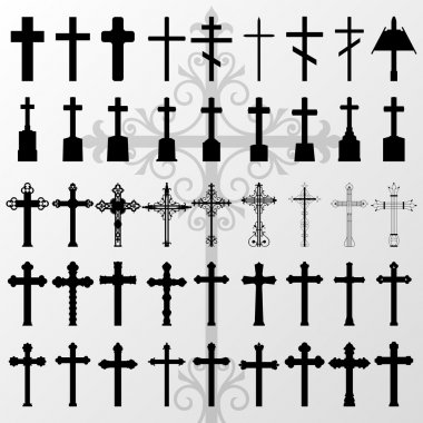 Vintage old cemetery crosses and graveyard cross silhouettes ill