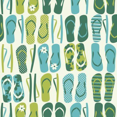 Seamless pattern with flip flops in green and blue. clip art vector