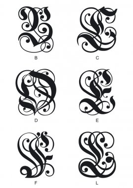 Gothic initials letters