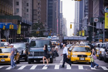 crossing street in New York