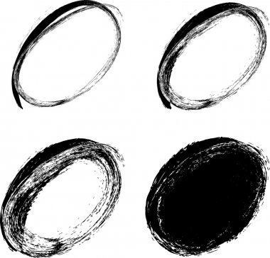 Hand drawn ovals, abstract vector illustration