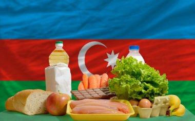 Basic food groceries in front of azerbaijan national flag