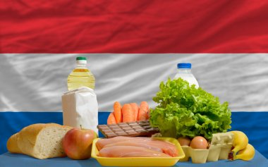 Basic food groceries in front of netherlands national flag