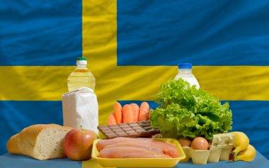 Basic food groceries in front of sweden national flag