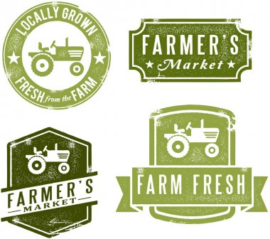 A collection of antique style farmer's market graphics. clip art vector