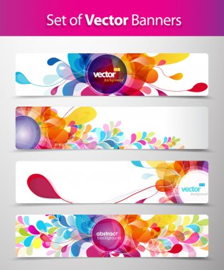Set of abstract colorful web headers. clip art vector