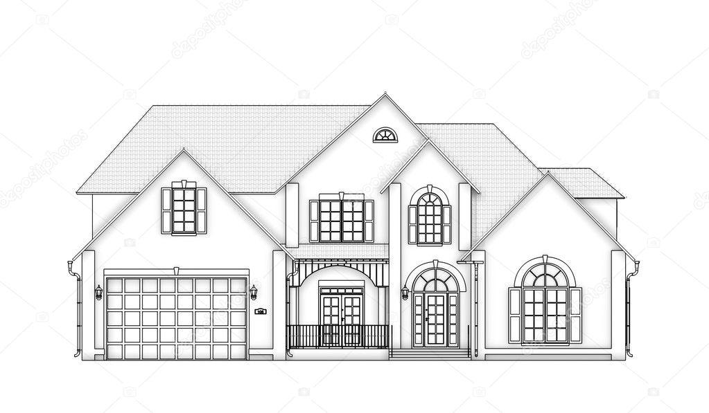 Vooraanzicht contour huis stockfoto peshkova 11107959 for Huis inrichten op schaal
