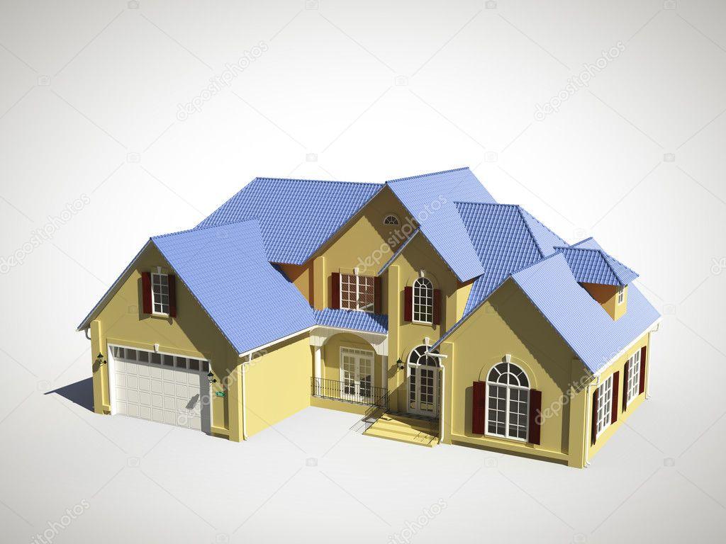 3D Modell Des Hauses Mit Blauen Dach U2014 Foto Von Peshkova