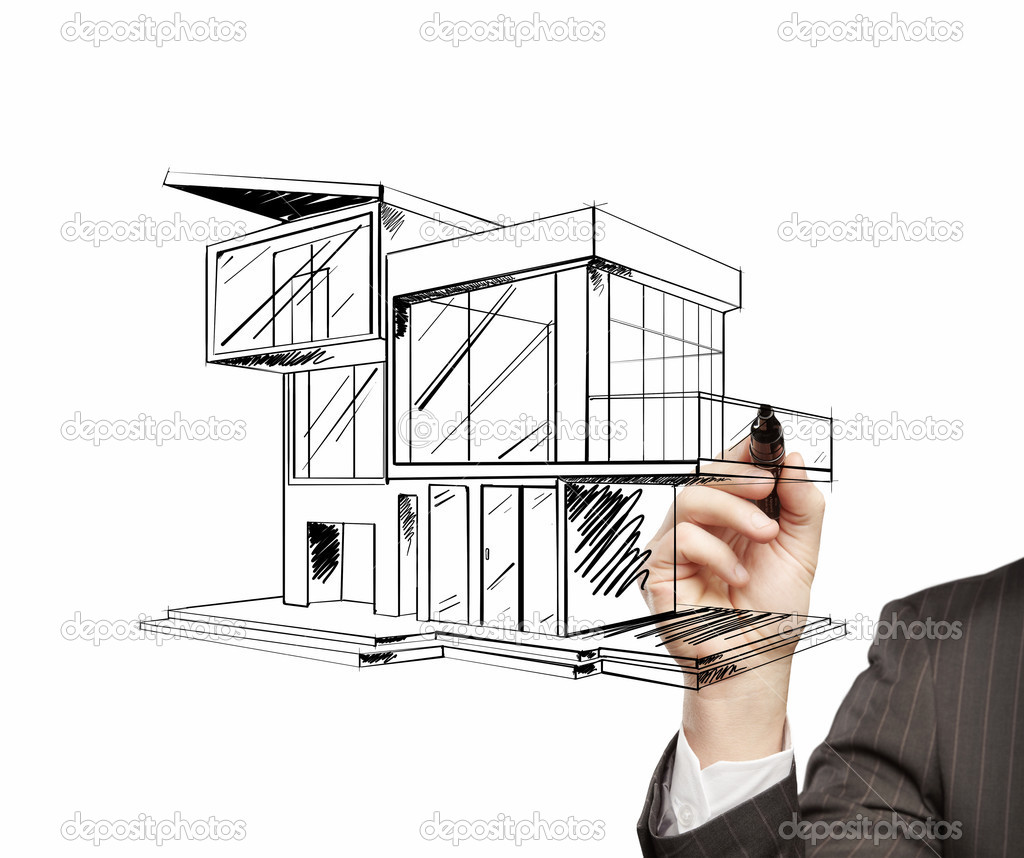 Drawing modern house stock photo peshkova 12262437 for Architecture de maison