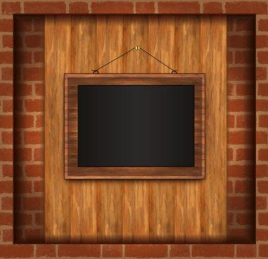 Blackboard frame photo brick wall raster