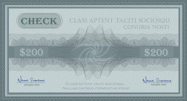 Vector check guilloche security coupon blue