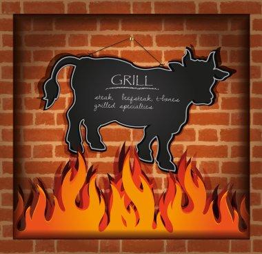 Vector blackboard cow bull fireplace grill