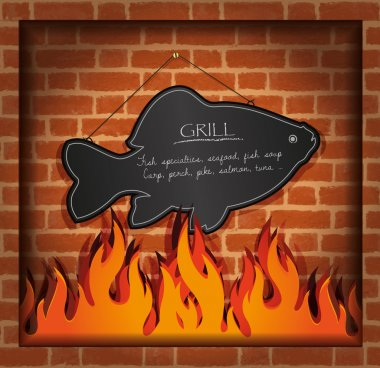 Vector blackboard fish fireplace grill