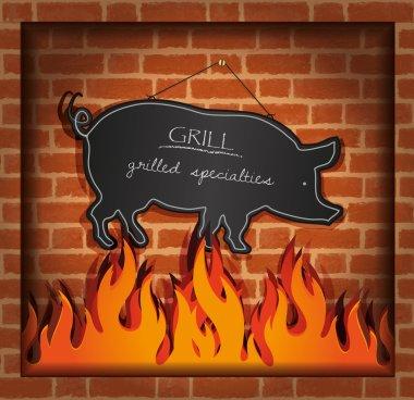 Vector blackboard pig fireplace grill