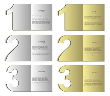 Vector paper card nomer 123 gold silver