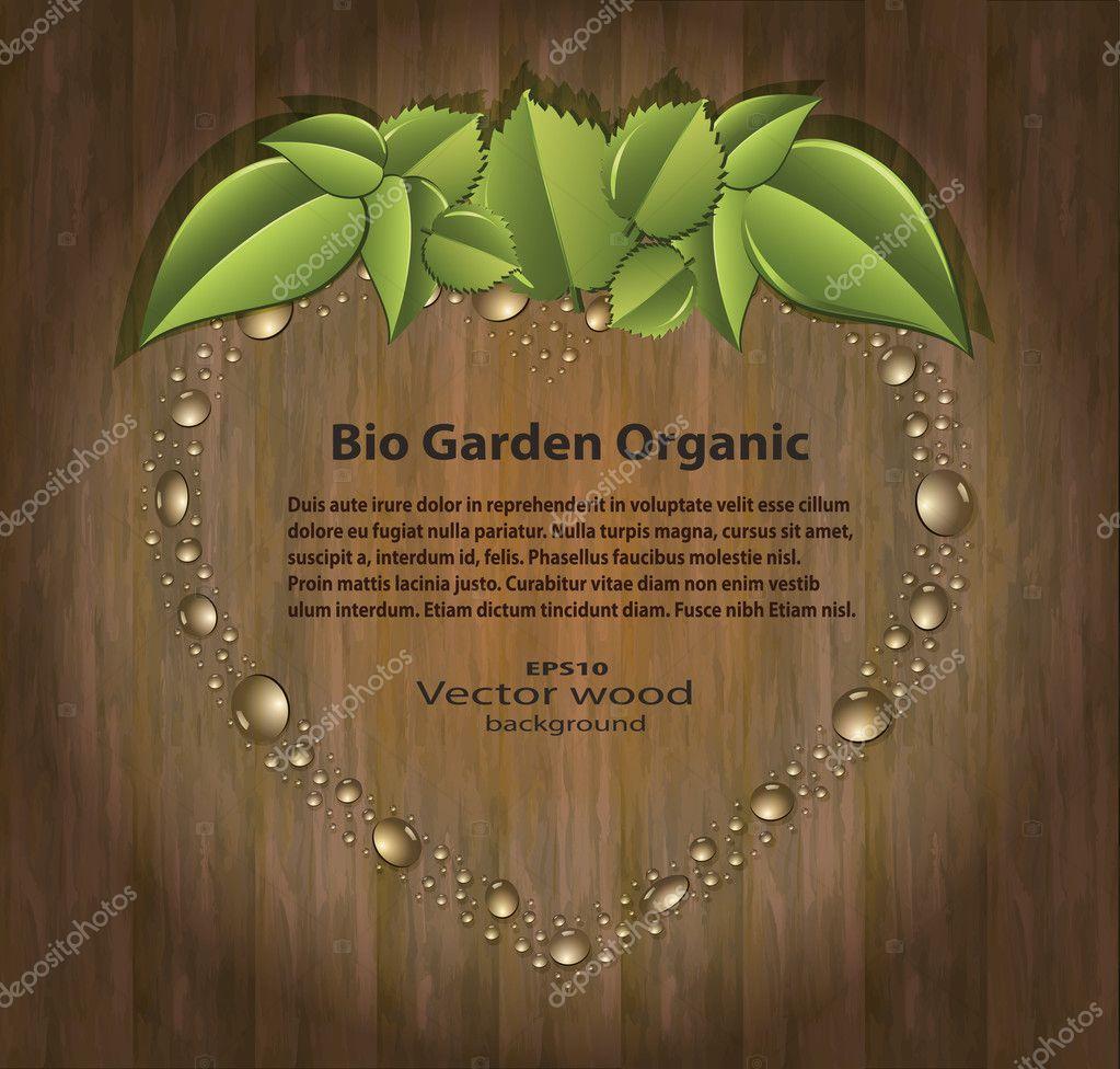 Vector Bio garden strawberry heart organic wood background
