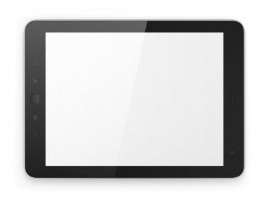 Black tablet pc computer on white background