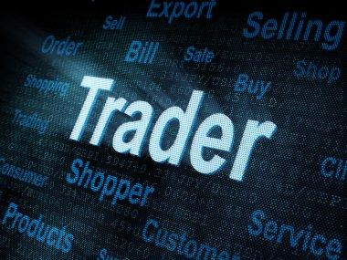 Pixeled word Trader on digital screen
