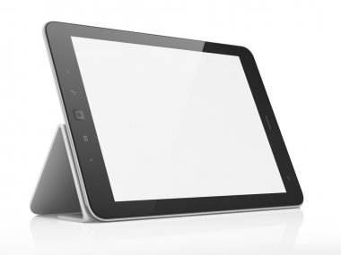 Black abstract tablet pc on white background, 3d render stock vector