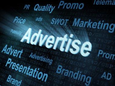 Pixeled word Advertise on digital screen