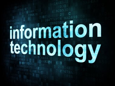 Information technology concept: pixelated words information