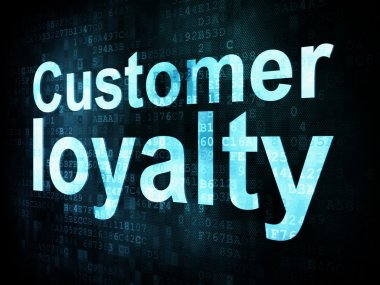 Marketing concept: pixelated words Customer loyalty on digital