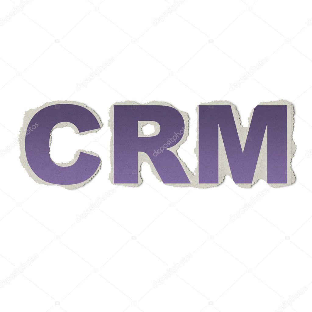 Concepto de negocio: vintage palabras Crm en papel rasgado — Foto de ...