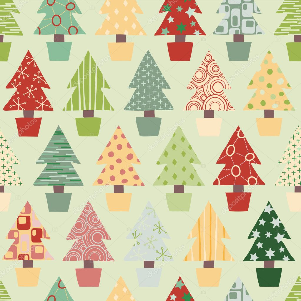 Seamless Christmas Tree Background — Stock Vector © theohrm #11745644