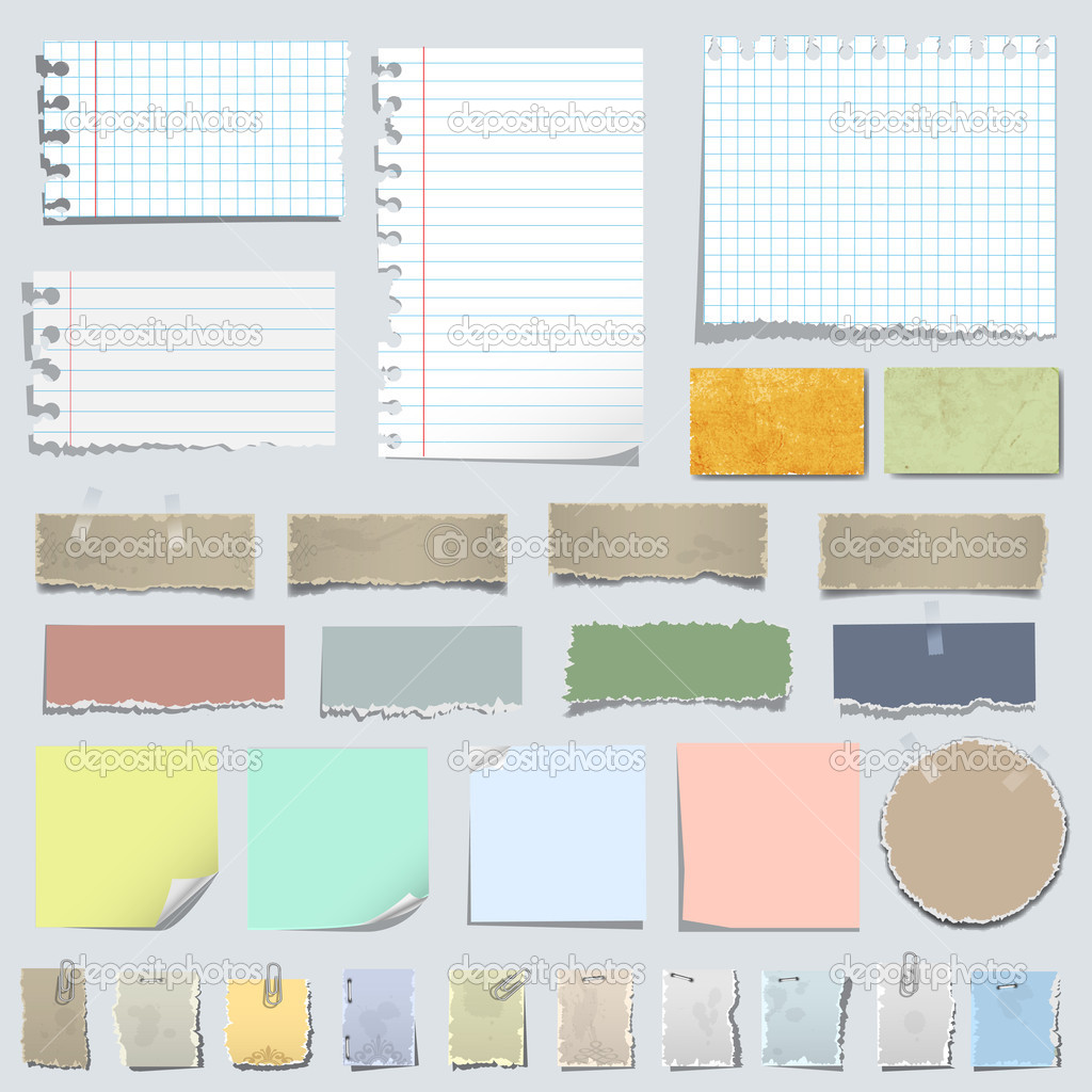 Vector set of various notes paper