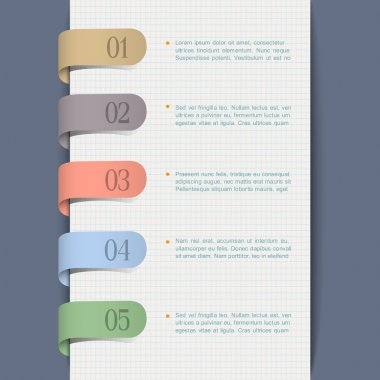 Modern background with paper numbered tags