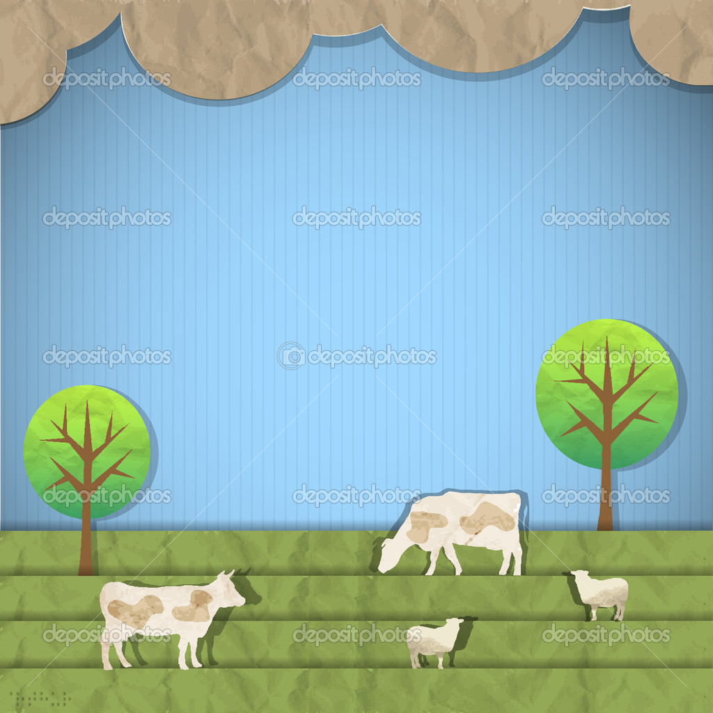 Landscape with sheeps,cows