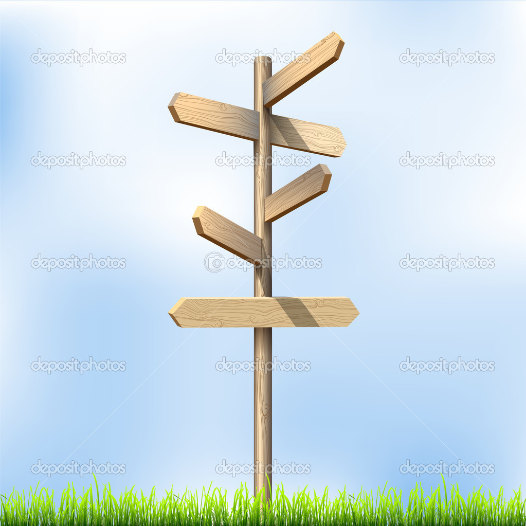 Direction road wooden signs