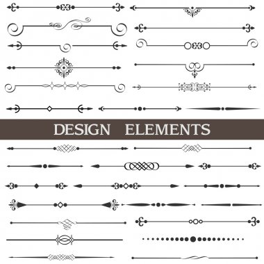 Vector set of calligraphic design elements and page decor clip art vector