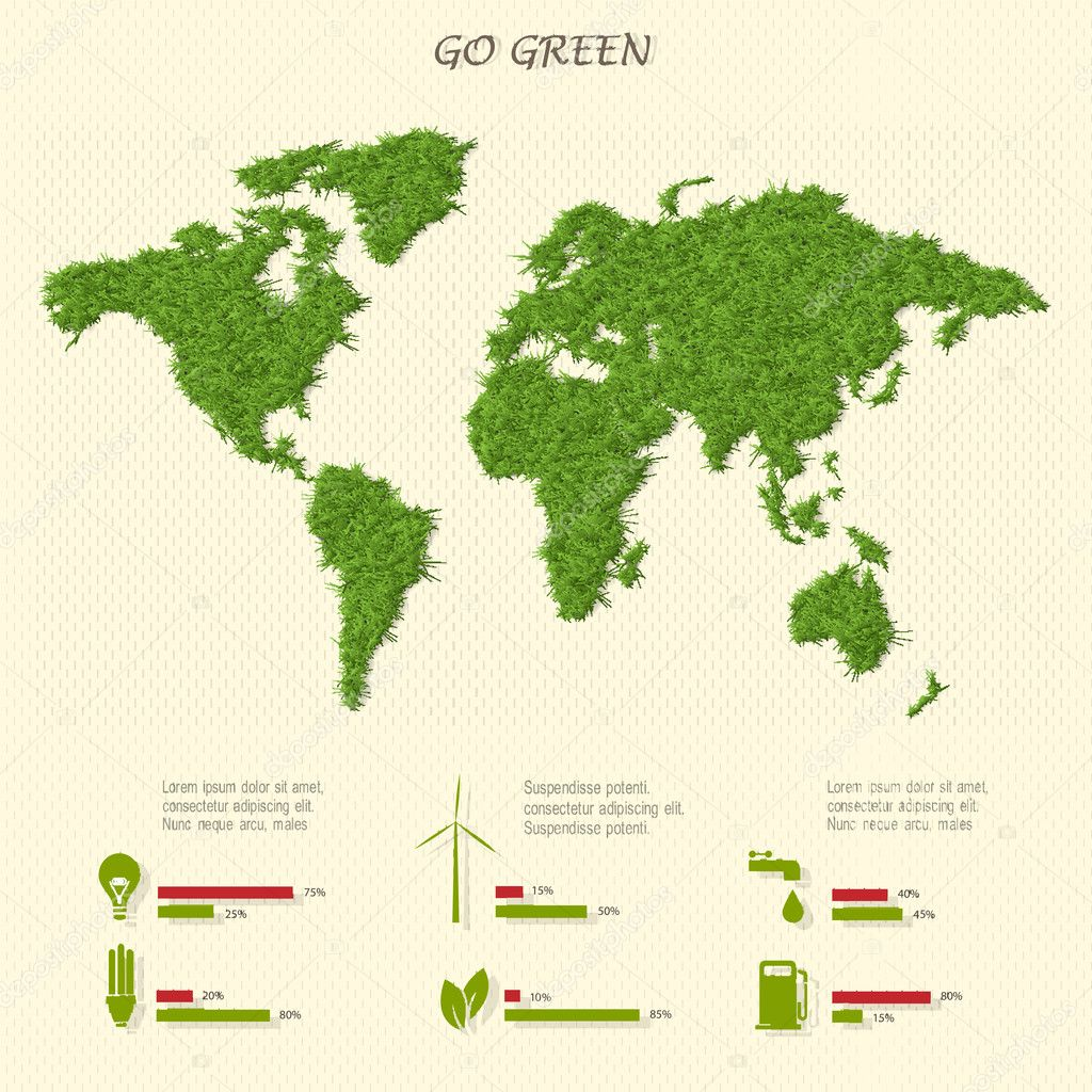 Stylized world map with eco infographic elements
