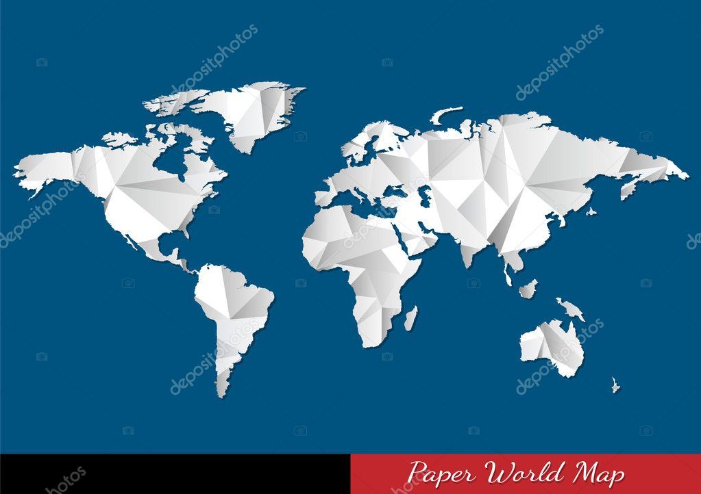 Mapa mundial de papel estilo origami vector de stock a r t u r mapa mundial de papel estilo origami vector de stock gumiabroncs Choice Image