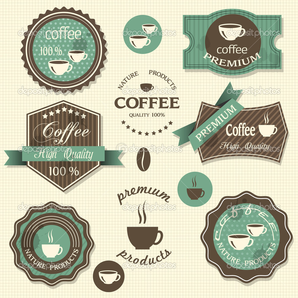 vector coffee labels vintage style stock vector a r t. Black Bedroom Furniture Sets. Home Design Ideas