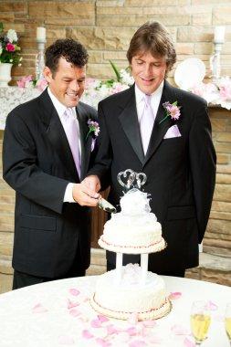 Gay Wedding - Grooms Cut Cake