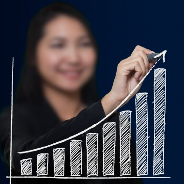 Business woman drawing growthing arrow , Business success concep