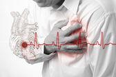 srdeční infarkt a srdce bije kardiogram pozadí
