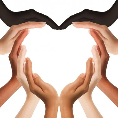 Multiracial human hands making a heart shape on white background