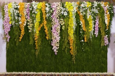 Flowers backdrop decorate for wedding ceremony